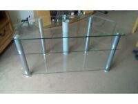 Clear glass TV stand for sale