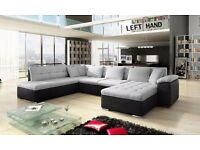 BRAND NEW SCAFATI FABRIC & LEATHER CORNER SOFA BED IN BLACK/GREY OR WHITE/GREY (FREE DELIVERY!!!)