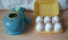 Tomy Eggs and ELC Whale shape sorter