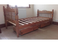 Pine single bed with 2 matching underbed drawers.