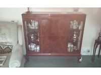 Reproduction mahogany display cabinet, as new condition