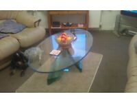Solid plate glass coffee table