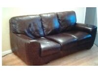 Brown Leather Three Piece Suite -