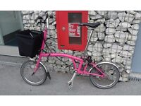 Brompton PINK M3L excellent condition with panier-lock-scwalbe tyres