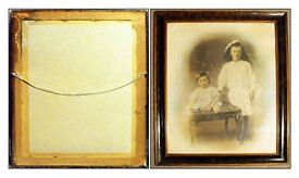 Victorian,Framed Sepia and Hand-Tinted Family Photograph of Two Children