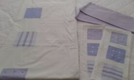 Lilac and Cream Double Bedset Inc 2 Matching pillowcases & 2 Lilac pillowcases Exc Clean Condition