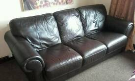SCS leather 3 seater settee
