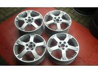 Genuine staggered 17 vauxhall vx220 5 x 110 speedster alloy wheels astra zafira etc rare
