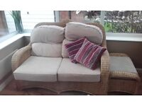 Sofa chair stool wicker complete set
