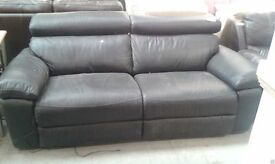 3 Seats, Real Leather, Black, Electric Recline, New, Sofa