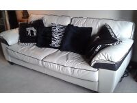 Cream leather 3 seater sofa in great condition