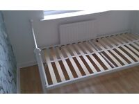 Solid white metal single bed in excellent condition