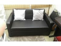 Sofa Bed Black Leather