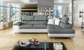 SALE ON FURNITURE-NEW ARTON LEATHER STORAGE,Ottoman sofa bed AND Universal Corner Sofa SOFA BED