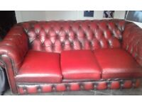 Chesterfield Ox blood three seater sofa