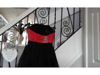 NEW SZ 10 BLACK / RED BODICE PROM DRESS