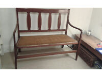 ANTIQUE SETTLE SEAT WITH TWO MATCHING CHAIRS