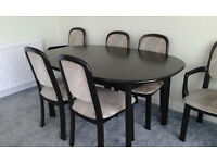 G Plan Black Table and Six Chairs