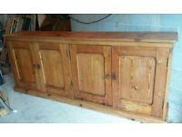 Large old pine sideboard with original door handles ( 7 foot 4 inch long ) good condition