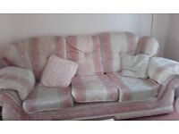 Three seater settee and 2 armchairs