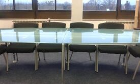 Boardroom Table with 10 matching Chairs, Glass Top Table. Oval shaped. The Ultimate Board Room