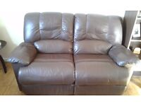 Two 2seater brown leather recliners .,j