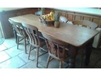 Farmhouse kitchen, refectory table and chairs