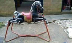 Childrens Metal Framed Pressed Steel Rocking Horse
