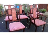 Retro 6 solid mahogany dining chairs consist of 2 open arm elbow armchairs. Nathan Furniture, 1960's
