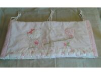 Next Pink and White Chloe Cat (Kitten and Bird) Motif Cot Bumper approx 34 x 153cm