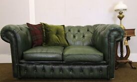 TWO SEATER GREEN LEATHER CHESTERFIELD SOFA - REQUIRES TLC