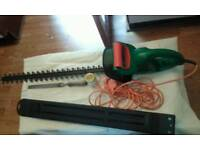 Electric hedge trimmer and flat file