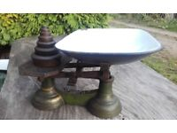 Antique weighing scale plus weights