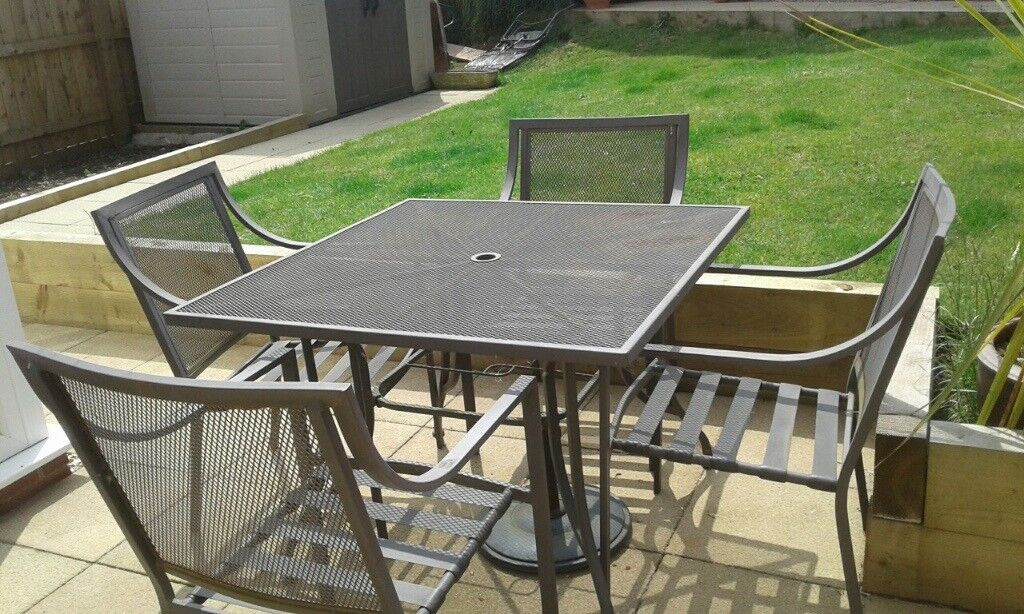 Table And 4 Chairs And Small Ratan Garden Set With Table In