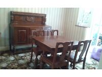 Vintage Sideboard with matching drawer leaf table with 4 chairs in Oak