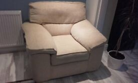 Beige/Gold Chenille fabric chair