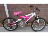 "Girls Magna Sparkler 20"" Wheel Dual Suspension Mountain Bike Bicycle"