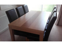 Light Oak Effect Dining Room Table and 6 Leather Chairs
