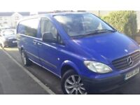 "MERCAEDS VITO DAY VAN COVERTED 8 SEATER 6 SP BOX SIDE GLASS 18"" ALLOYS"