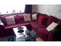 Beautiful corner sofa for sale...red and black...