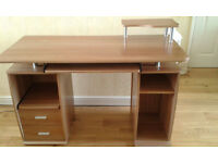 Computer Desk Oak/Beech colour.