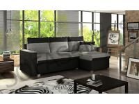 BRAND NEW FLAVIO LEATHER & FABRIC CORNER SOFA BED WITH STORAGE IN TWO COLOURS (FREE DELIVERY)
