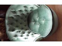 vintage green dralon boudoir chair button back