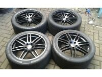 """STAGGERED 20"""" AUDI RS4 ALLOY WHEELS VW T4 TRANSPORTER A5 A6 A8 S8 PREMIUM TYRES"""