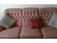 three seater rose pink sofa free to a good home, used condition but still plenty of life left