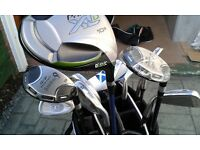 Right Handed, Golf Woods, Irons, Hybrids, Putter, Cart Bag, Box of 12 Balls and Tees. Package Set.