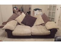 Cream and Brown Material Soft Sofa