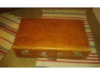 Vintage 1940's Gentlemens Leather Suitcase Rare Travel Case.