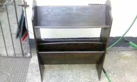 Antique Solid Oak Book Trough With Two Section Magazine Rack