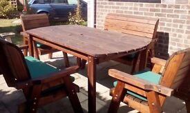 Scandinavian Redwood 6 seater patio set, bought last year, dry stored in winter,hardly used